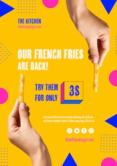 Batatas fritas estão de volta menu de apresentação