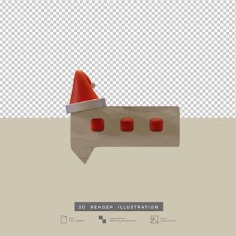 Bate-papo 3d com ilustração de chapéu de papai noel no natal