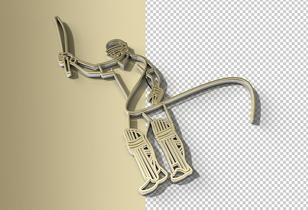 Batedor jogando críquete levanta seu bastão após marcar um arquivo psd transparente de um século inteiro.