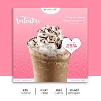 Batido de chocolate instagram post valentine