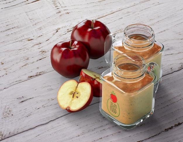 Batidos em frascos de copos com maçã