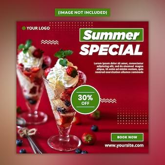 Bebida de verão mídia social post psd