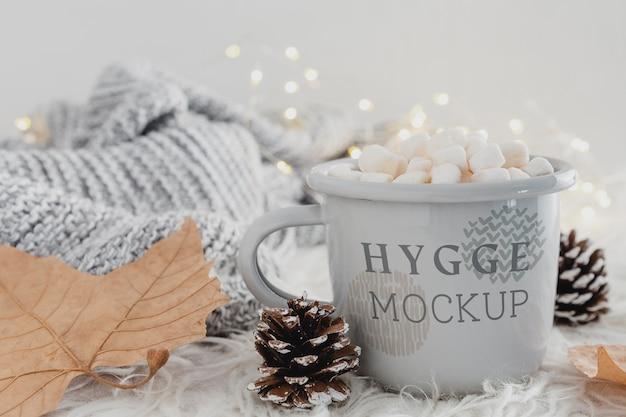 Bebida deliciosa com marshmallows