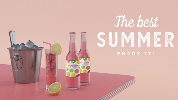 Bebidas de verão na mesa com cubos de gelo