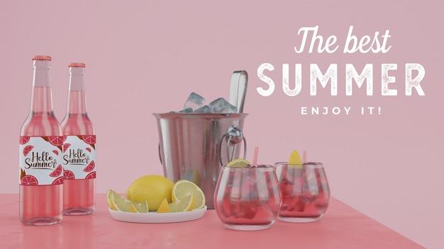 Bebidas de verão na mesa com tipografia