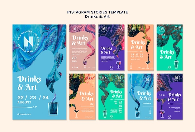 Bebidas e histórias de instagram de arte Psd grátis