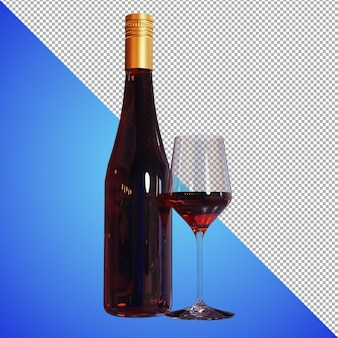 Beer ou wine 3d render para imagens de visualização e amostra de produto