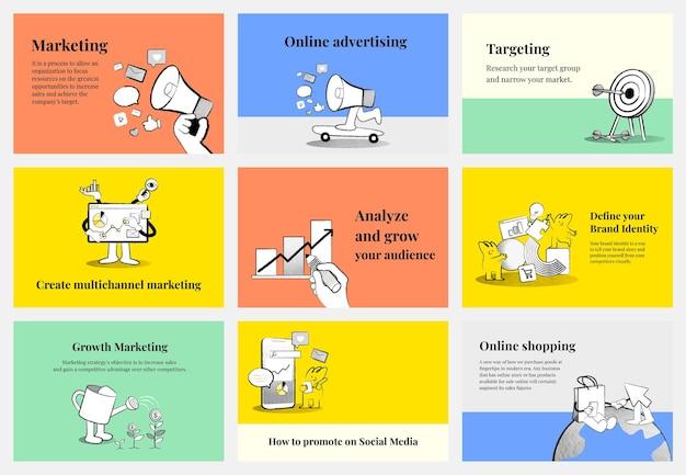 Bela coleção de modelos de marketing