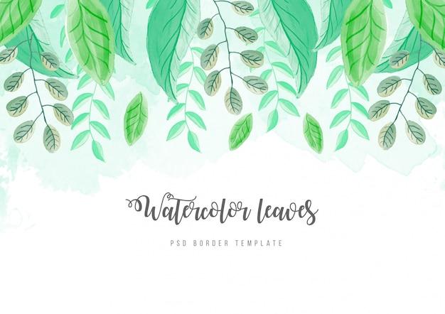 Bela fronteira aquarela com folhas