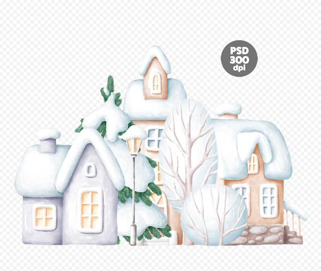 Bela ilustração de inverno com árvores e casas isoladas