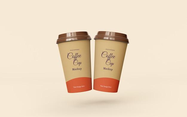 Bela maquete de copos de café de papel para levar