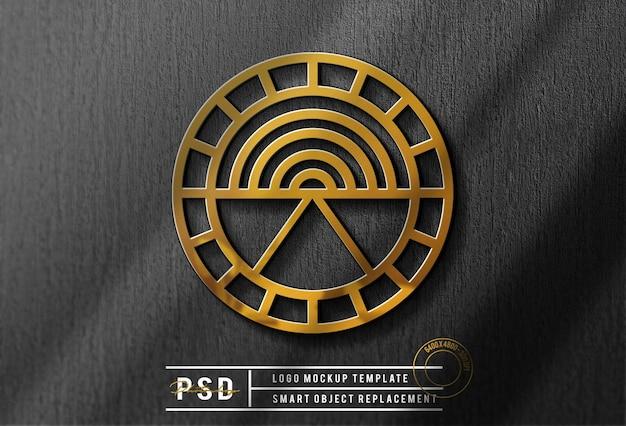 Bela maquete de logotipo dourado de luxo