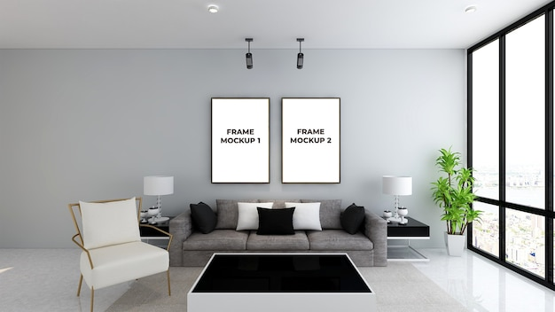 Bela maquete de molduras na sala de estar