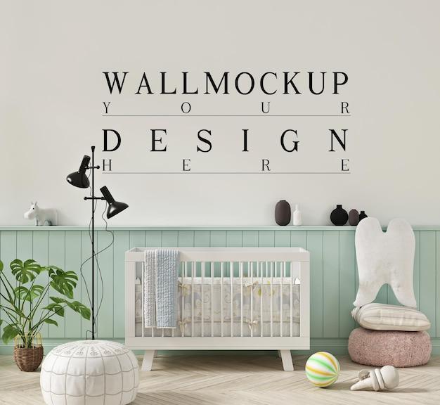 Bela maquete de parede em bonito tom pastel da sala de berçário