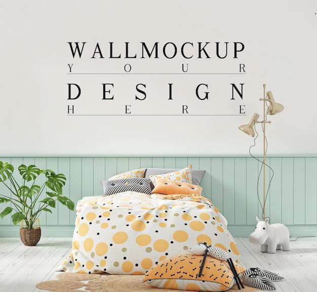 Bela maquete de parede em fofa cor pastel do quarto das crianças