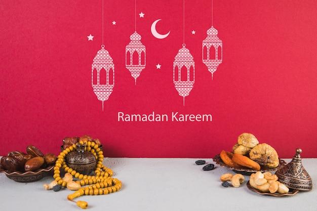 Bela natureza-morta com elementos ramadán