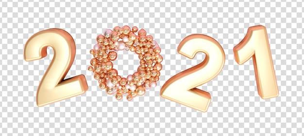 Bela renderização de ano novo de 2021 isolada