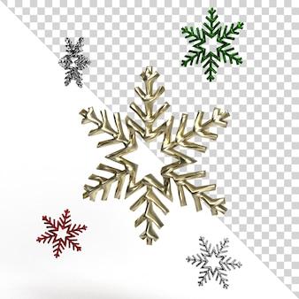 Bela renderização realista de floco de neve isolada