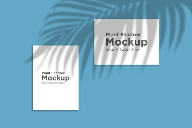 Bela sombra de planta sobre maquete de papel