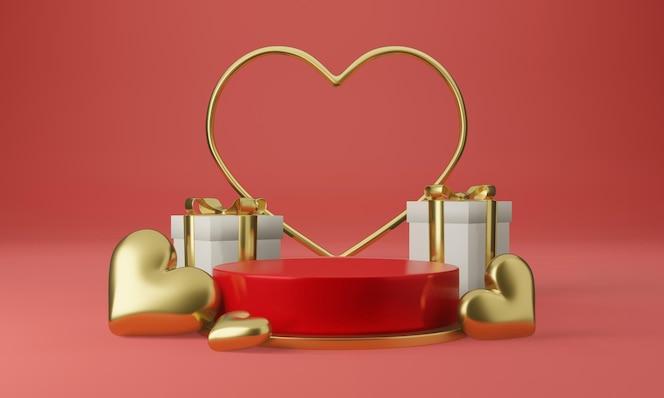 Belo coração pedestal com conceito de design minimalista