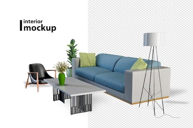 Belo design de interiores em renderização 3d