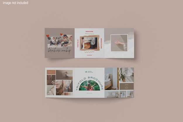 Belo design de maquete de revista quadrada com três dobras