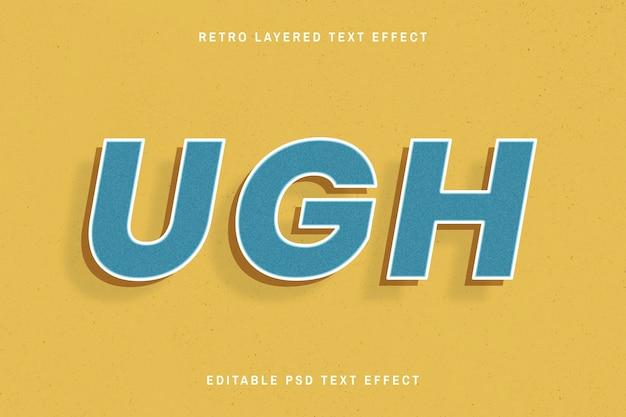 Belo design retro de efeito de texto em 3d