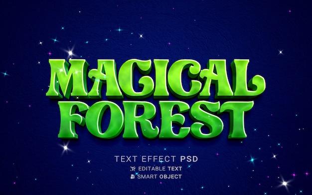 Belo efeito de texto de floresta mágica