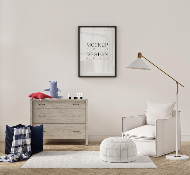 Belo interior de quarto infantil com poltrona, sofá e pôster de maquete