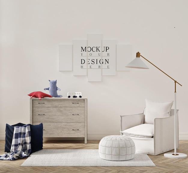 Belo interior de quarto infantil com poltrona sofá e pôster de maquete