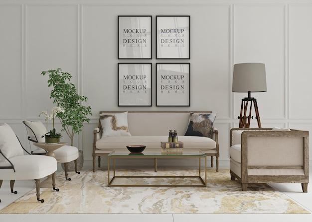 Belo pôster de maquete emoldurado em uma sala de estar clássica com sofá