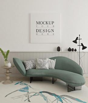 Belo pôster de maquete emoldurado em uma sala de estar moderna com sofá