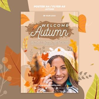 Bem-vindo, outono, cartaz, modelo
