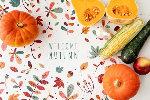 Bem-vindo outono conceito com deliciosos legumes