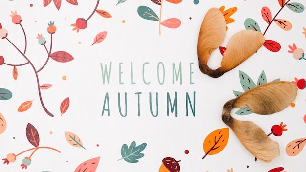 Bem-vindo, outono, lettering, com, folhas, ao redor