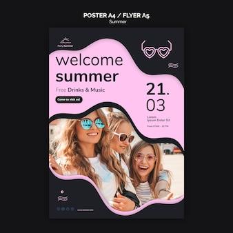 Bem-vindo, verão, cartaz, modelo