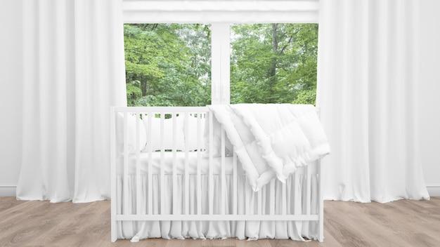 Berço branco no quarto adorável bebê