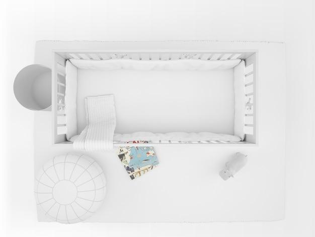 Berço branco realista com elementos de decoração isolado no branco na vista superior