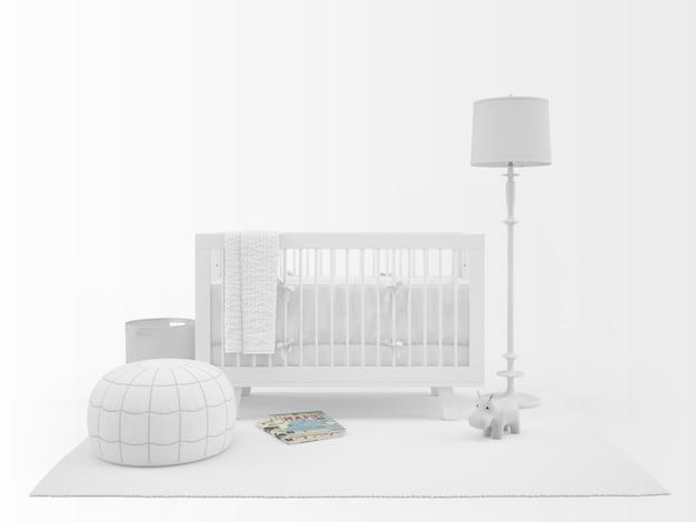 Berço branco realista com elementos de decoração isolado no branco