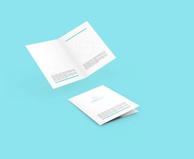 Bi-fold flying brochura maquete psd