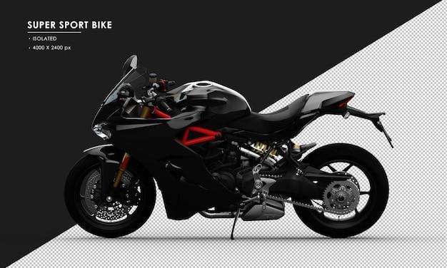 Bicicleta super desportiva preta isolada vista do lado esquerdo