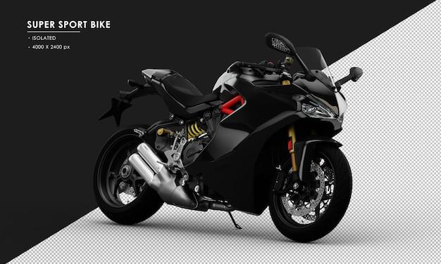 Bicicleta super desportiva preta isolada vista frontal direita