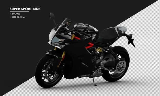 Bicicleta super desportiva preta isolada vista frontal esquerda