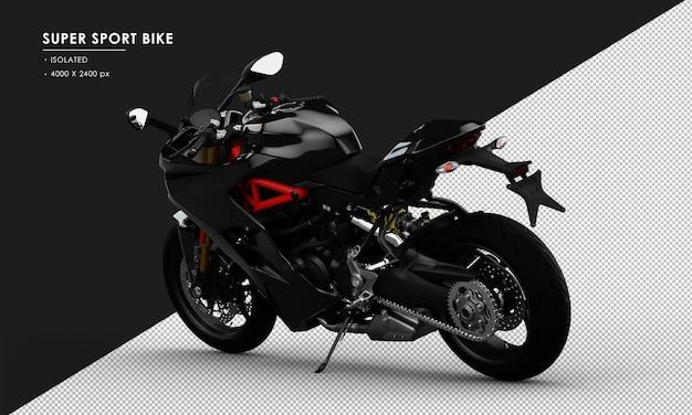 Bicicleta super esportiva preta isolada vista traseira esquerda