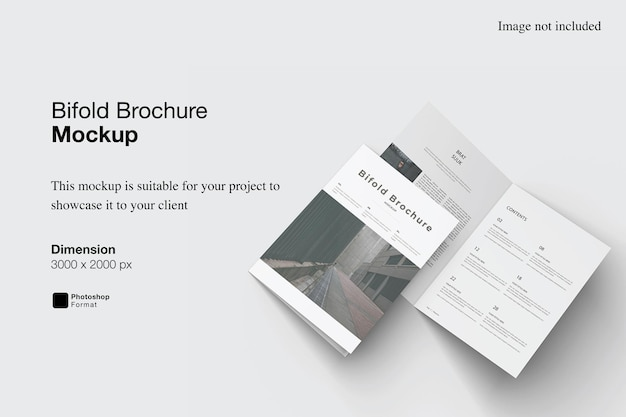 Bifold brochure mockup design isolated
