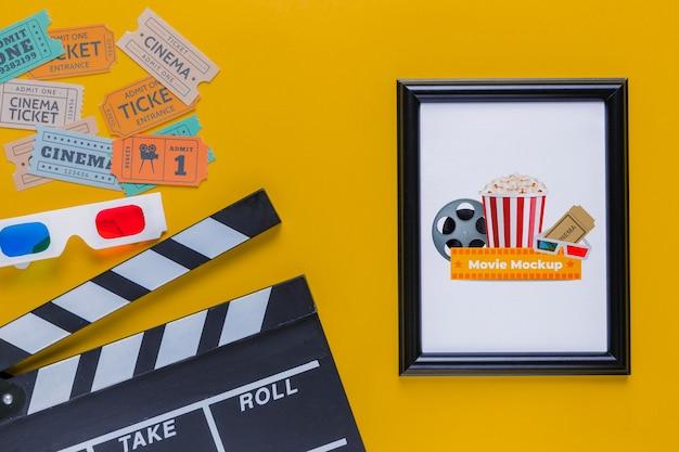 Bilhetes coloridos do conceito de cinema