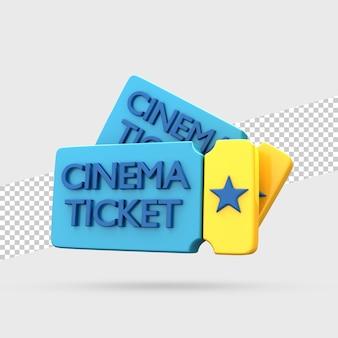Bilhetes de cinema renderização em 3d