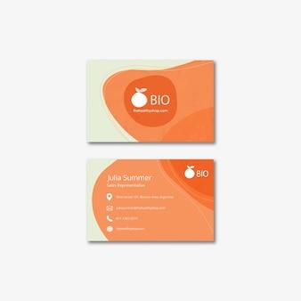Bio & cartão de visita saudável do conceito do alimento