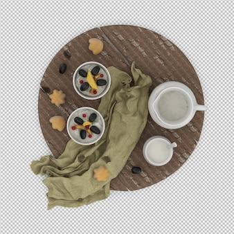 Biscoitos com leite 3d isolado render