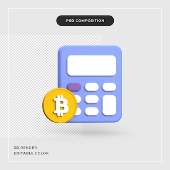 Bitcoin 3d com calculadora conceito de criptomoeda
